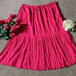 Rose Red Maxi Skirt Plus Sz 20 Tiered Crinkle